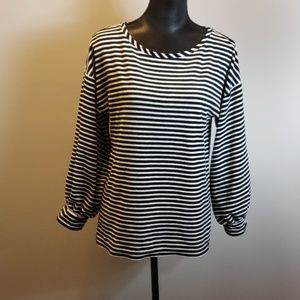 Velour striped Loft top size medium